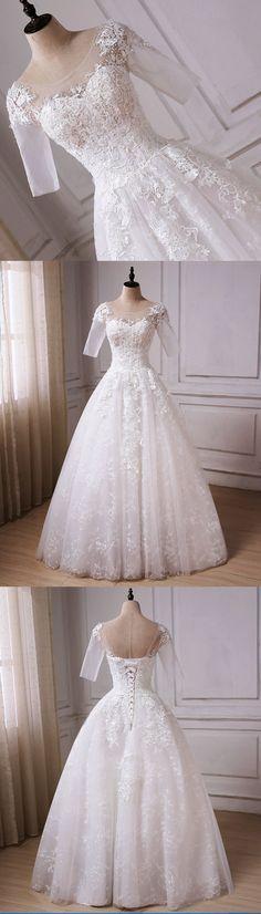 Elegant white tulle mid sleeve long lace A-line wedding dress with appliques #prom #dress #weddingdress #weddingdresses