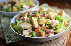 Chicken Caesar Salad with Homemade Croutons is a hearty and delicious main dish salad topped with all kinds of goodies and homemade garlic and herb croutons! Salad Recipes Video, Salad Recipes For Dinner, Fruit Salad Recipes, Chicken Salad Recipes, Whole Food Recipes, Healthy Recipes, Chicken Caesar Salad, Salad Topping, Main Dish Salads