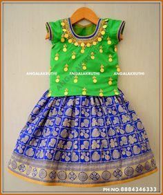 Kasu work on silk Fabric Kid Lehenga desings by Angalakruthi boutique Bangalore Custom designs for kids