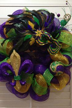 Mardi Gras Wreath Fleur de lis Wreath by GreatLittleGiftShop