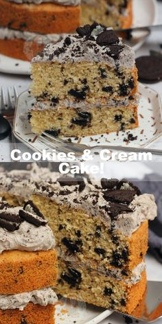 A Delicious Two-Layer Cookies and Cream Cake with a Cookies & Cream Sponge, and Cookies & Cream Oreo Buttercream Frosting! Easy, and Delicious! Oreo Cake Recipes, Easy Cake Recipes, Sweet Recipes, Baking Recipes, Dessert Recipes, Cookies N Cream Cake Recipe, Janes Patisserie, Kid Desserts, Yummy Cakes
