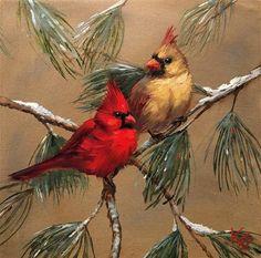 Krista Eaton Gallery of Original Fine Art Cardinal Birds, Painting Techniques, Painting Tips, Mini Paintings, Vintage Birds, Fine Art Gallery, Christmas Art, Beautiful Paintings, Bird Art