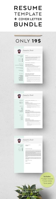 Modern resume & Cover letter Template. 3 Page bundle with fonts & icons!
