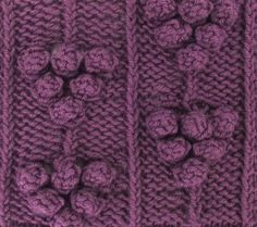 Blackberry Bobble Pattern - this would make a wonderful panel along the front edge of a cardigan.  You'll find it in your library under the Bobbles & Slip Stitches category.