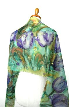 Your place to buy and sell all things handmade Painted Silk, Hand Painted, Handmade Scarves, Handmade Gifts, Silk Shawl, Silk Painting, Silk Scarves, Tulips, Jewelry Collection