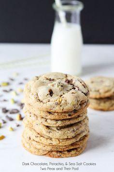 Dark Chocolate Chunk, Pistachio, and Sea Salt Cookie Recipe on twopeasandtheirpod.com