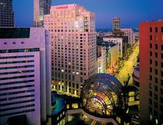 Indianapolis, Indiana.  A great shot of the Circle Centre Mall and other downtown buildings.