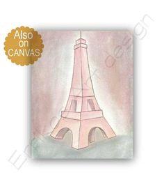 Paris Eiffel Tower Wall Art, French Nursery Art, Girls room decor, Shabby Chic Nursery, Paris Girls room wall art, Pink Nursery decor girl