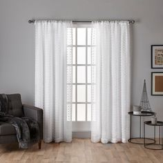 Exclusive Home Spirit Geometric Sheer Rod Pocket Curtain Panel Pair - EH8155-01 2-84R