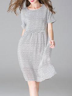 Silk Short Sleeve Crew Neck Printed Casual Mini Dress