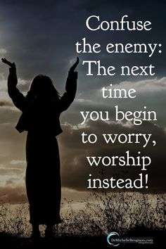 Confuse the enemy! The next time you being to worry, worship instead! Read more for tips on how to overcome anxiety, worry and fear. Fear Quotes, Bible Verses Quotes, Faith Quotes, Life Quotes, Scriptures, Uplifting Quotes, Positive Quotes, Inspirational Quotes, Word Of Faith