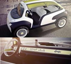 I would totally buy this car. It looks like it should be in a cartoon. Citroen Lacoste concept car