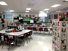 An Organized Art Room is a Happy Art Room: Love the visuals on the tables. I wish my room was this big! Art Classroom Decor, Art Classroom Management, Classroom Design, Classroom Organization, Classroom Rules, Classroom Ideas, Elementary Art Rooms, Art Lessons Elementary, High School Art