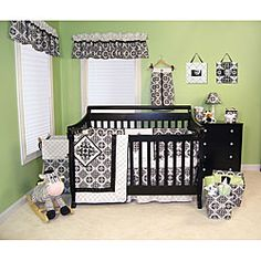 @Overstock - Bring style to your baby boy or girl's bed with this set Bedding features a gender neutral stylish black and white designBaby bedding set includes a coverlet, 4-piece bumper, crib skirt and fitted crib sheethttp://www.overstock.com/Baby/Trend-Lab-Versailles-Black-and-White-4-piece-Bedding-Set/4117320/product.html?CID=214117 $115.99