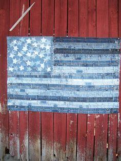 drapeau denim upcycled fait main