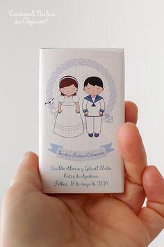 Chocolatinas. Recordatorios de Primera Comunión personalizados para hermanos. tartas y nubes de azúcar
