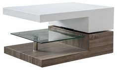 Christopher Knight Home Bridgetown Rectangular Rotatable Coffee Table w/ Glass Glossy White/Oak
