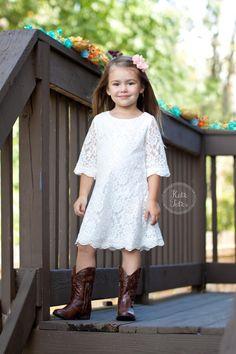 Kutie Tuties - White Lace Dress, Flower girl dress, wedding, rustic, vintage, pink, ivory, white, toddler, girl, spring, summer, fall