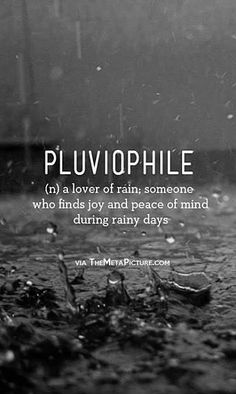 This is totally m. If you were had to describe me using one word it would be pluviophile.