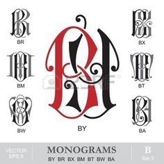 Vintage Monograms BY BR BX BM BT BW BA Vector Graffiti Lettering, Hand Lettering, Typography, Alpha Art, Tattoo Design Drawings, Art Drawings, Letter A Crafts, Vintage Monogram, Calligraphy Letters