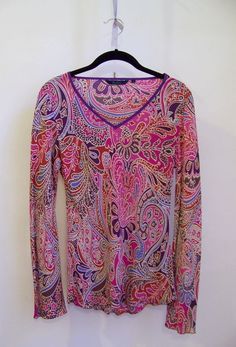 BODEN Silk Foral Paisley Blouse Top Shirt Sz 14 Long Bell Sleeves Pink Purple #Boden #PulloverStyle