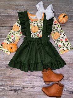 Girl's Toddler Pumpkin Green Suede Long Sleeve Fall Thanksgiving Holiday Suspender Set Stretch Cotton Outfit 12 18 Month 5 6 7 8 Little Girl Outfits, Toddler Girl Outfits, Cute Outfits, Toddler Girls, Little Girl Clothing, Baby Girl Fall Outfits, Children Outfits, Baby Girl Skirts, Toddler Girl Style