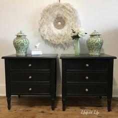 Black Chalk Paint Big Difference Vintage Bedside Table Black Bedside Table Painted Bedroom Furniture