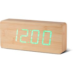 Slab Beech Click Clock (98 CAD) ❤ liked on Polyvore featuring home, home decor, clocks, led clock, battery alarm clock, battery digital clock, led digital clock and alarm-clock