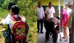 Pengabdian Seorang Polisi Gendong Anak yang Tidak Bisa Berjalan Pergi ke Sekolah ini Bikin Kagum