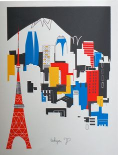 Tokyo city print from albiedesigns (etsy) http://www.etsy.com/shop/albiedesigns/ #illustration #art