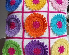 crochet granny square cushion cover with flowers / pillow cover