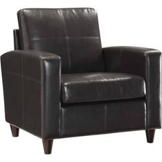 Office Star-OSP Furniture Bonded Leather Club Chair with Espresso Legs, Multiple Colors, Brown