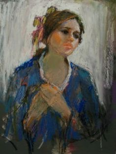 Connie Chadwell's Hackberry Street Studio: Wistful - original oil pastel portrait painting/drawing