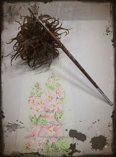 Penny Black stokroos ingekleurd met mijn nieuwe kwastjes van  Raphael