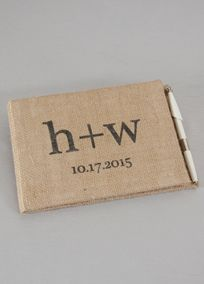 """Burlap is a beautifully rustic fabric to add to your wedding day. Personalize this burlap guest book and pen with your initials and wedding date; perfect to add to your rustic themed wedding.  Features and Facts: Guestbook:   Measurements: 6.5"""" H x 9.5"""" L  Made of burlap  Contains 20 pages with 360 lines for signatures  Initials are lowercase. The"""" """" in between initials is standard  Wedding Date includes up to 10characters including spaces and special characters. View Font Style"""