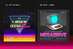 80's Synthwave Photoshop Templates by dennybusyet on @creativemarket
