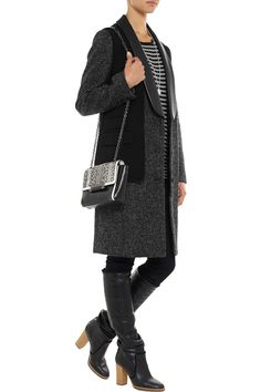 Alexander Wang Leather-trimmed cutout wool-blend coat