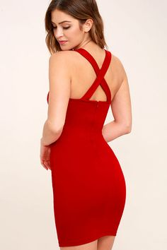 You work hard, so now it's time to play hard in the Play Time Red Bodycon Dress! Medium-weight stretch knit shapes a square neckline and thick straps that crisscross at back. Darted bodice tops a sleek bodycon skirt. Hidden back zipper. As Seen On Kirsty of @kirstyfleming!