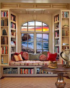 Cozy Home Library, Home Library Rooms, Home Library Design, Home Room Design, Home Interior Design, Small Home Libraries, Bay Window Living Room, Bay Window Bedroom, Dream Rooms