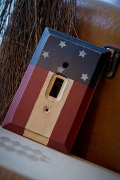 Primitive Americana Stars and Stripes Face Plate/Lightswitch cover by FourSeasonsCrafts on Etsy, $12.00