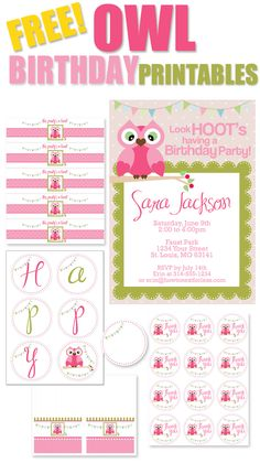 owl party invitations | Features an invitation, garland, food cards, water bottle labels, and ...