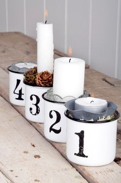 Dosen-Adventskranz ⭐️ Tin-Advent-Wreath (Dosen mit Zahlen verzieren und mit Kerzen, etc. füllen)