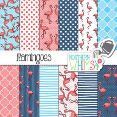 Flamingo Digital Paper - tropical scrapbook paper with flamingoes in pink, navy, and aqua blue - printable paper - commercial use - CU OK