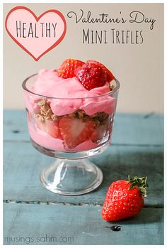 Easy, healthy Valentine's Day Mini Trifles… festive and decadent without being full of extra sugar.  With the simple, healthy ingredients of strawberries, yogurt and granola, this recipe is perfect for a filling Valentine's Day snack or even a great Valentine's Day breakfast.