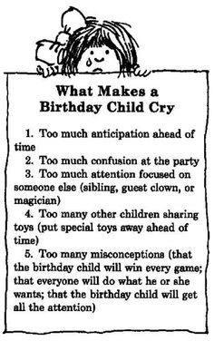 Birthday Parties for Children: What Makes a Birthday Child Cry