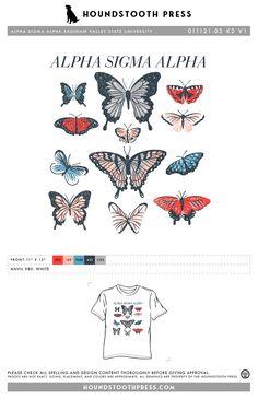 #sorority #greeklife #customdesign #lovethelab // Houndstooth Press Custom Apparel Sorority Pr, Sorority Shirts, Custom Design Shirts, Alpha Sigma Alpha, Greek Life, Fraternity, Houndstooth, Custom Clothes, Butterfly