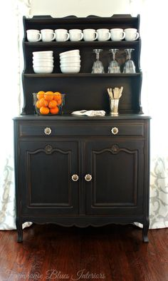 Hutch painted with Graphite Chalk Paint® decorative paint by Annie Sloan | Project by Farmhouse Blues