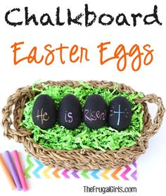 Chalkboard Easter Eggs! ~ at TheFrugalGirls.com ~ such a fun, unique way to decorate your Easter Eggs with chalk this year! #eastereggs #crafts #thefrugalgirls