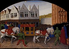 Arrival of the Emperor Charles IV in front of Saint Denis,1455-1460 - Jean Fouquet (French, 1425-1480)