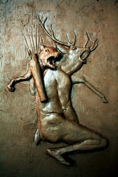 Relieve Mitológico, mito de Artemisa y Acteón